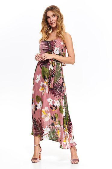 Rochie Top Secret rosa de zi in clos cu decolteu rotunjit din material subtire cu imprimeuri florale