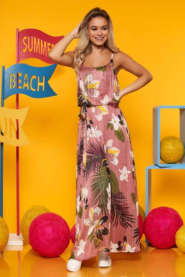 Rochie Top Secret roz de zi in clos cu decolteu rotunjit din material subtire cu imprimeuri florale