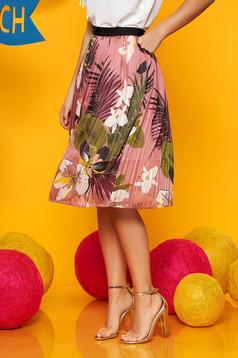 Fusta Top Secret roz midi in clos din voal cu imprimeu floral si elastic in talie