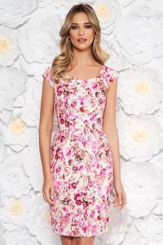 Rochie roz de zi cu un croi mulat din bumbac cu imprimeuri florale