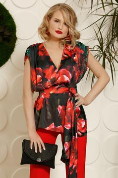 Bluza dama PrettyGirl rosie eleganta cu croi larg din material satinat cu imprimeuri florale accesorizata cu cordon