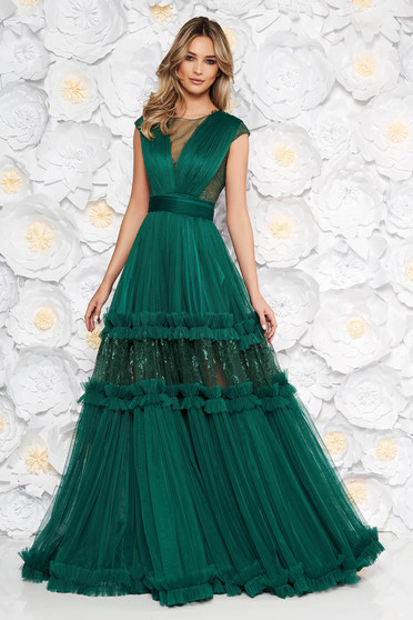 Rochie Ana Radu verde-inchis de lux in clos cu decolteu in v cu aplicatii de dantela accesorizata cu cordon