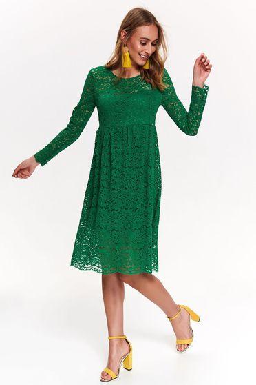 Rochie Top Secret verde de ocazie din dantela cu maneca lunga