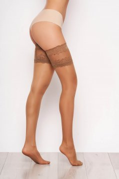Nude women`s tights with runstop with lace details