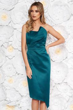Rochie verde-inchis de ocazie midi tip creion din satin fara maneci