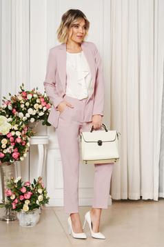 Pantaloni StarShinerS lila office cu un croi drept din stofa usor elastica cu talie medie si buzunare
