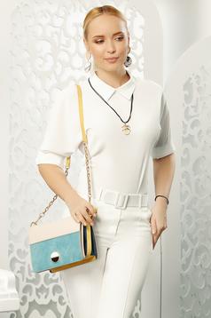 Bluza dama Fofy alba eleganta cu croi larg cu maneci trei-sferturi cu guler