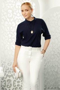 Bluza dama Fofy albastra-inchis eleganta cu croi larg cu maneci trei-sferturi cu guler