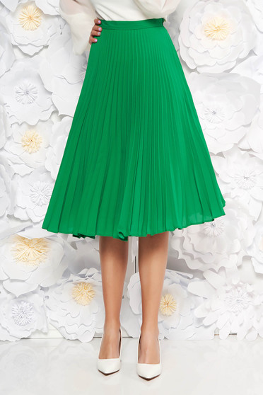 Fusta StarShinerS verde eleganta plisata in clos din voal cu talie inalta