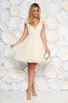 Ana Radu nude luxurious cloche dress from tulle with inside lining with deep cleavage