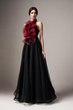 Ana Radu black occasional cloche dress sleeveless with ruffle details