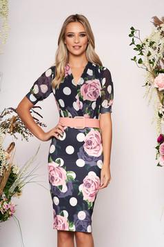 PrettyGirl darkblue elegant daily dress with tented cut accessorized with belt