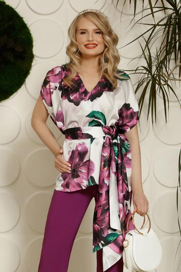 Bluza dama PrettyGirl mov eleganta cu croi larg din material satinat cu imprimeuri florale accesorizata cu cordon