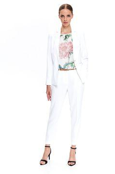 Pantaloni Top Secret albe eleganti conici cu talie medie din material subtire