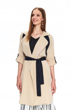 Nude coat casual flared accessorized with tied waistband