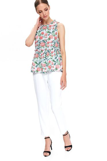 Bluza dama Top Secret albastra-deschis cu croi larg din material subtire cu peplum