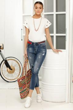 Blue skinny jeans jeans with medium waist slightly elastic cotton with medium waist