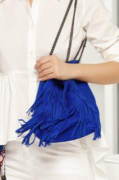 Geanta dama albastra casual cu franjuri cu maner lung tip lantisor