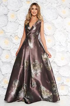 Rochie maro de ocazie in clos cu decolteu in v cu imprimeu floral