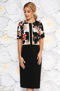 Rochie neagra eleganta midi cu maneca scurta din material usor elastic fara captuseala
