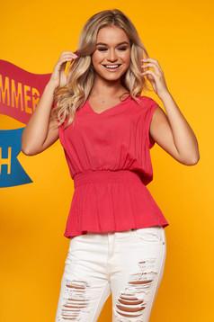 Bluza dama Top Secret roz-inchis casual cu decolteu in v si elastic in talie