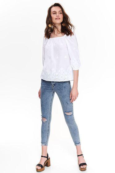 Bluza dama Top Secret alba cu croi larg din bumbac neelastic cu maneci trei-sferturi