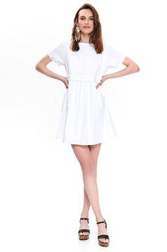 Top Secret white daily flared dress bareback thin fabric