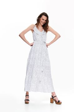White dress casual dots print with straps accessorized with tied waistband