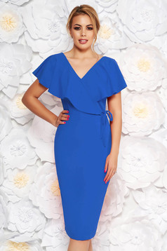 StarShinerS blue elegant pencil dress from elastic fabric with v-neckline