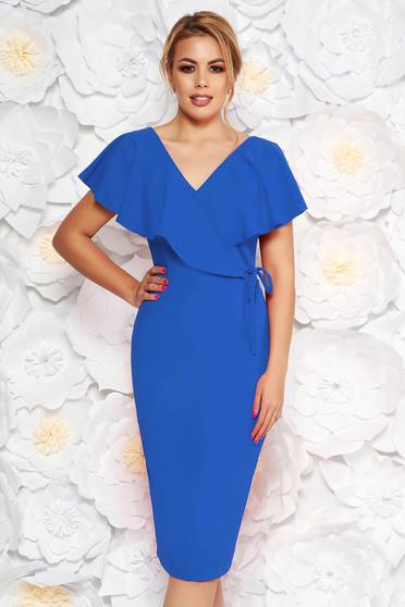 Rochie StarShinerS albastra eleganta tip creion din material elastic cu decolteu in v