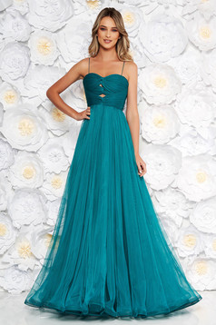 Ana Radu turquoise luxurious dress from tulle with inside lining with push-up cups off shoulder