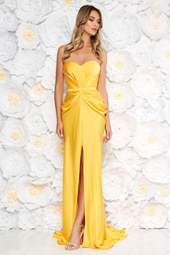 Ana Radu luxurious off shoulder dress from satin fabric texture with push-up bra accessorized with tied waistband yellow