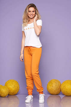 Trening dama SunShine mustariu casual din 2 piese cu pantalon din bumbac elastic