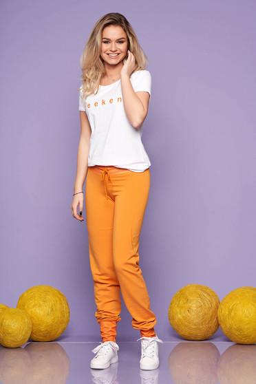 Compleu SunShine mustariu casual din 2 piese cu pantalon din bumbac elastic