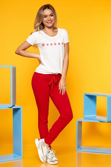 Compleu SunShine rosu casual din 2 piese cu pantalon din bumbac elastic
