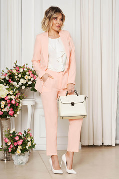 StarShinerS peach office trousers with pockets medium waist slightly elastic fabric with straight cut
