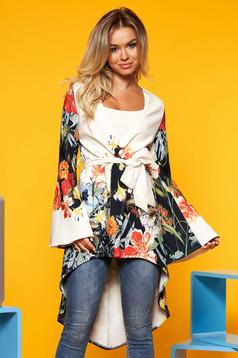 Bluza dama alba casual asimetrica cu maneca lunga din material subtire cu imprimeu floral