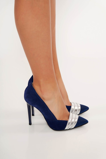 Pantofi albastru-inchis elegant din piele naturala cu varful usor ascutit cu accente argintii