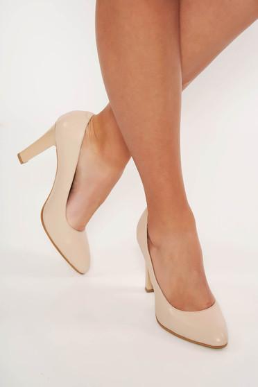 Pantofi nude elegant din piele naturala cu toc inalt cu varful usor ascutit