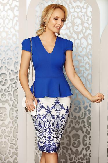 Bluza dama Fofy albastra eleganta cu decolteu in v cu un croi mulat cu peplum in talie