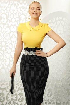 Camasa dama Fofy mustarie eleganta mulata din bumbac elastic cu maneci scurte