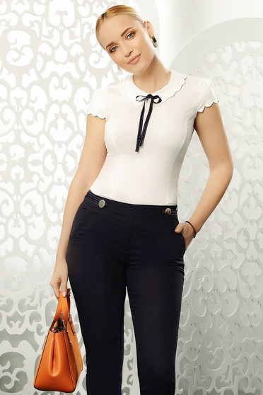 Camasa dama Fofy alba eleganta mulata din bumbac elastic cu maneci scurte