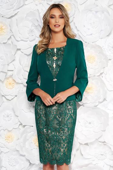 Compleu verde elegant cu rochie din 2 piese