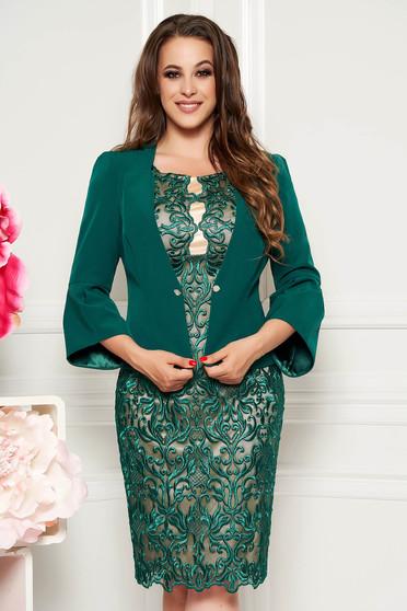 Compleu verde elegant cu rochie din 2 piese din dantela