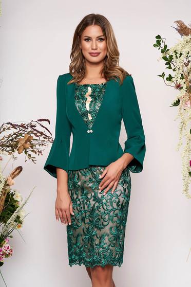 Compleu verde elegant cu rochie din 2 piese din dantela cu un croi cambrat captusit pe interior