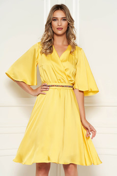 StarShinerS yellow dress elegant daily midi from satin flaring cut with v-neckline with butterfly sleeves