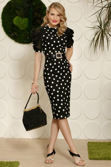 Rochie PrettyGirl neagra eleganta tip creion cu aplicatii cu perle accesorizata cu cordon
