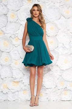 Ana Radu luxurious dirty green dress from veil fabric with inside lining cloche accessorized with tied waistband