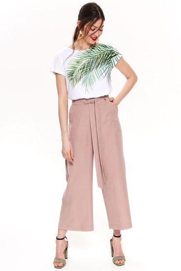 Bluza dama Top Secret alba casual cu croi larg din bumbac usor elastic cu maneca scurta