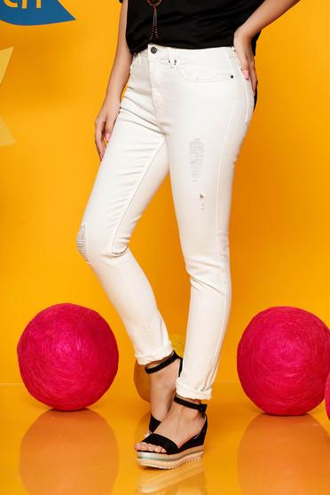 Blugi Top Secret albi casual din bumbac usor elastic